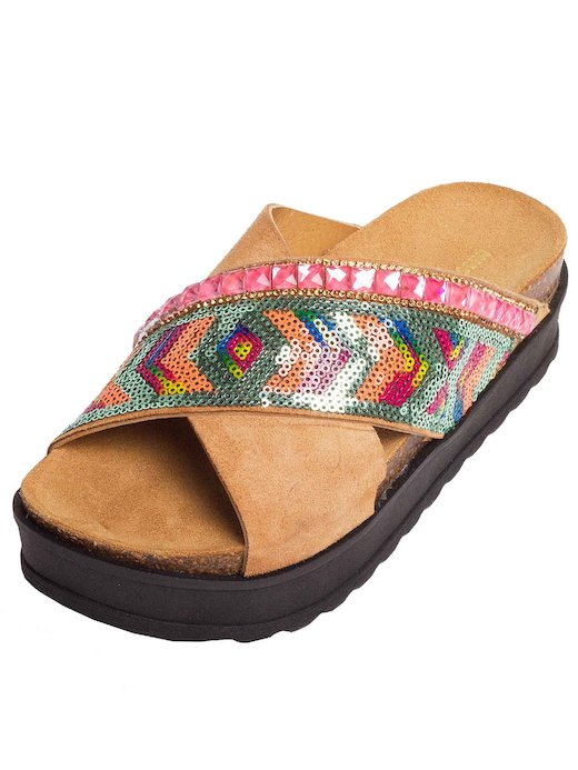 sandalo incrocio paillettes e pietre