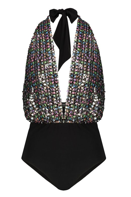 TOP A BODY CON PAILLETTES MULTICOLORE