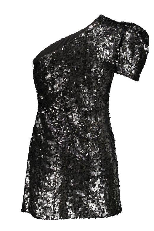 BLACK SEQUINS ONE SHOULDER MINI DRESS - Nero