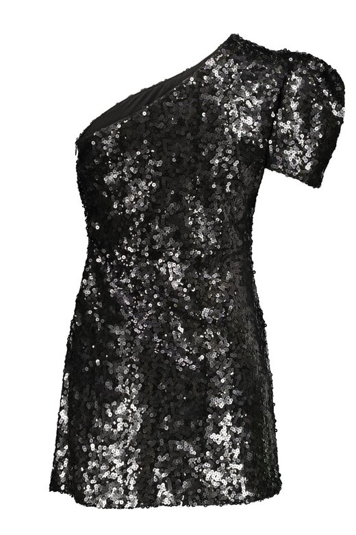 BLACK SEQUINS ONE SHOULDER MINI DRESS - Nero