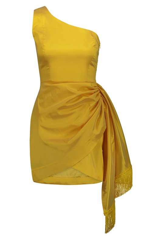 LIGHT TAFFETA MINI DRESS WITH FRINGES - Giallo