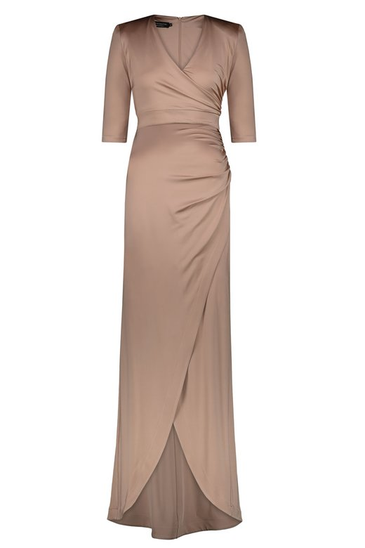 JERSEY LONG DRESS WITH 3/4 SLEEVES - Carne