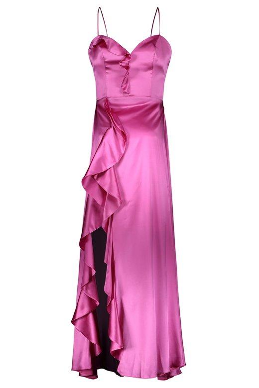 SILK SATIN DRESSING GOWN LONG DRESS - Fuxia