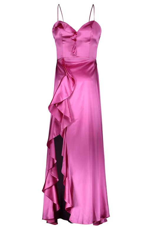 SILK SATIN DRESSING GOWN LONG DRESS - Fuxia
