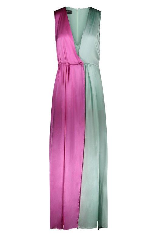 SILK SATIN BICOLOR DRESS WITH MINI JAMPSUIT UNDERNEATH - Fuxia