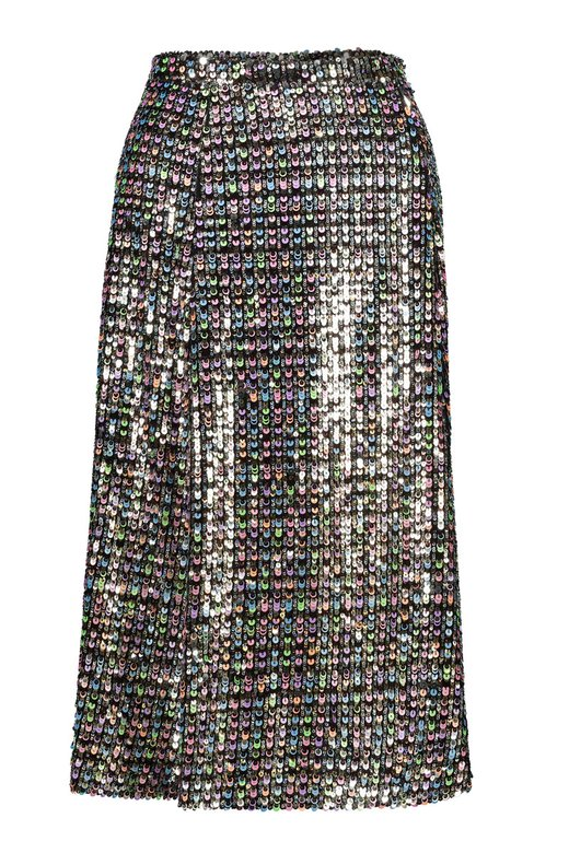 MULTICOLOR SEQUINS MIDI SKIRT