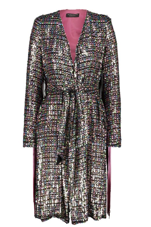MULTICOLOR SEQUINS DRESSING GOWN JACKET WITH FRINGES