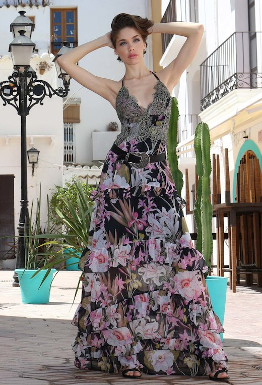 LONG FANTASY BALANCE DRESS WITH PIZZO APPLICATION
