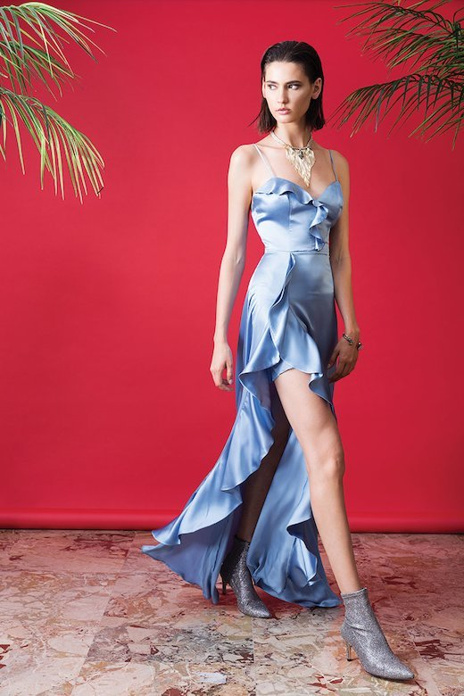 SILK LONG DRESS WITH RUFFLES