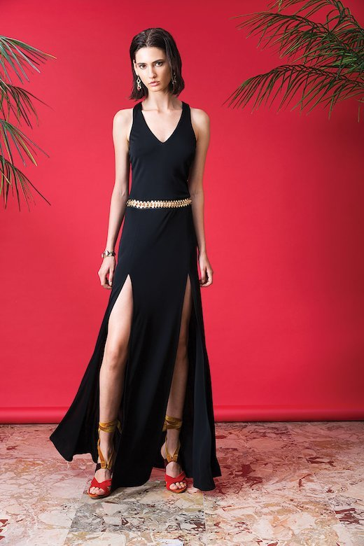 LONG BLACK JERSEY DRESS WITH SIDE SLITS