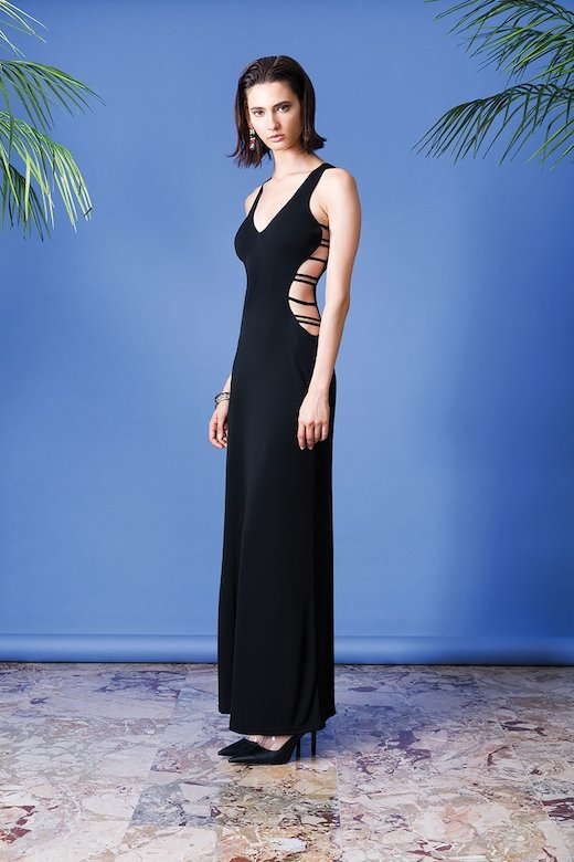 BLACK LONG DRESS IN JERSEY
