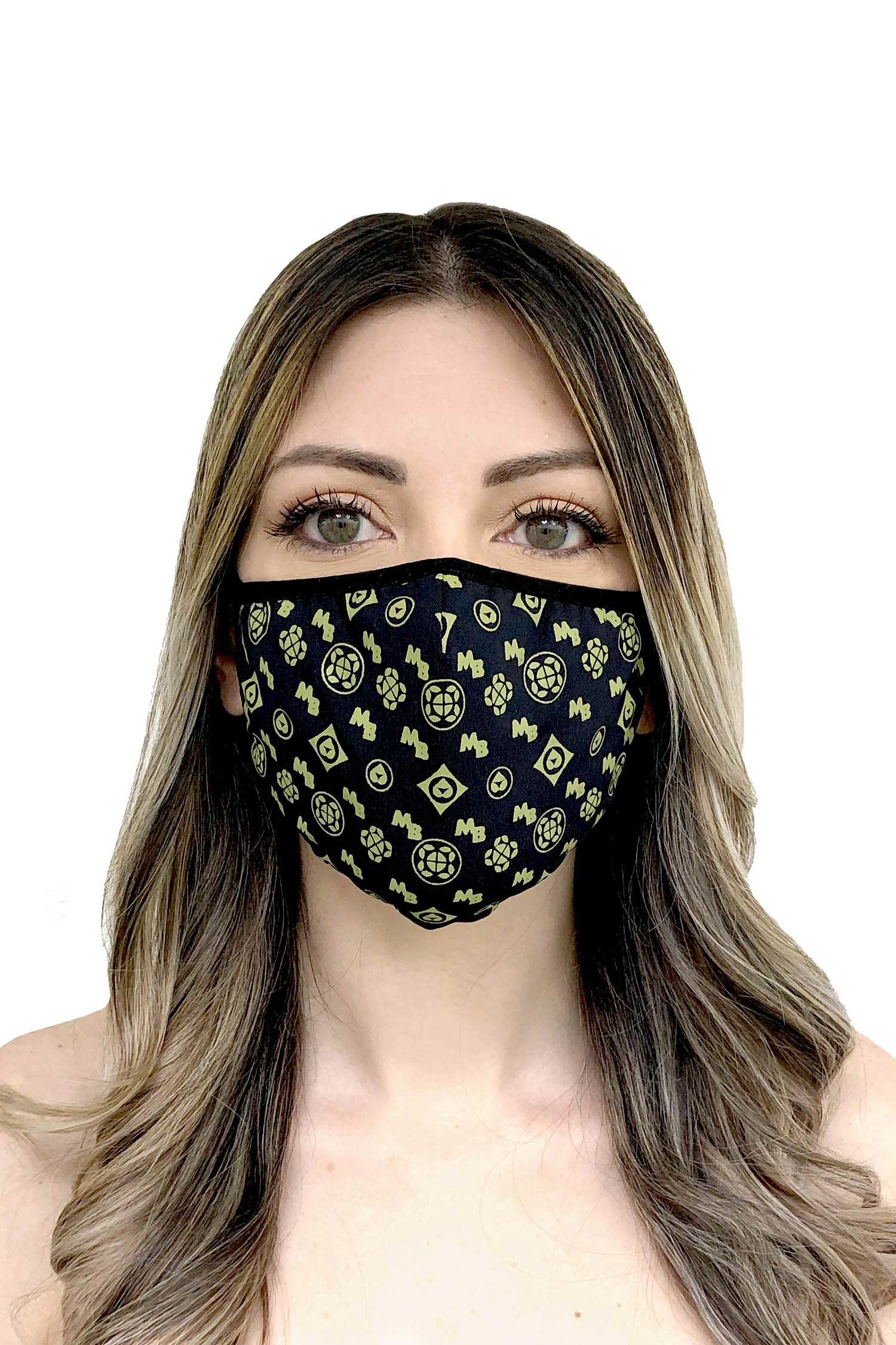Cloth face mask - Nero Verde Oliva
