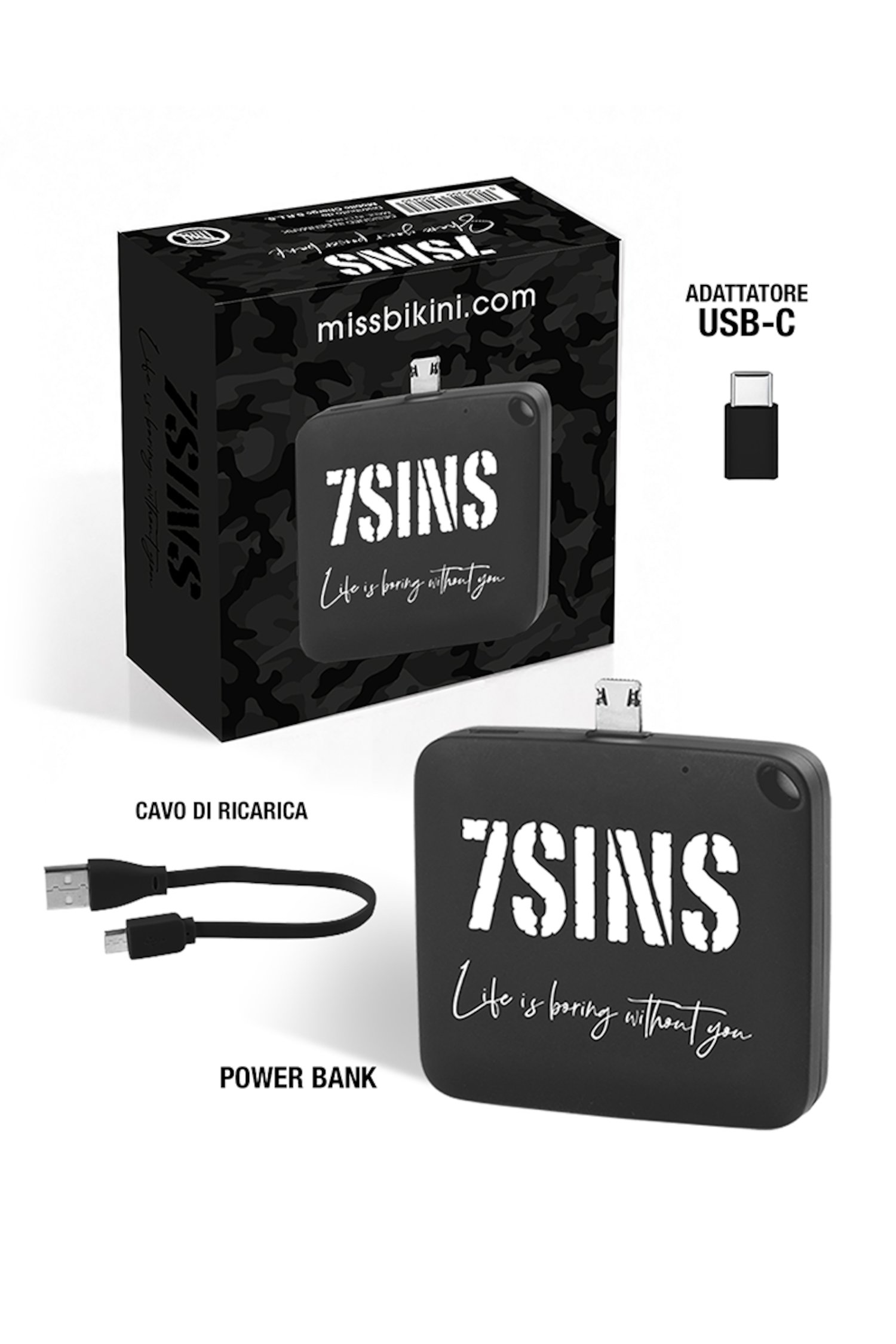 Grey Power Bank 7Sins - Grigio