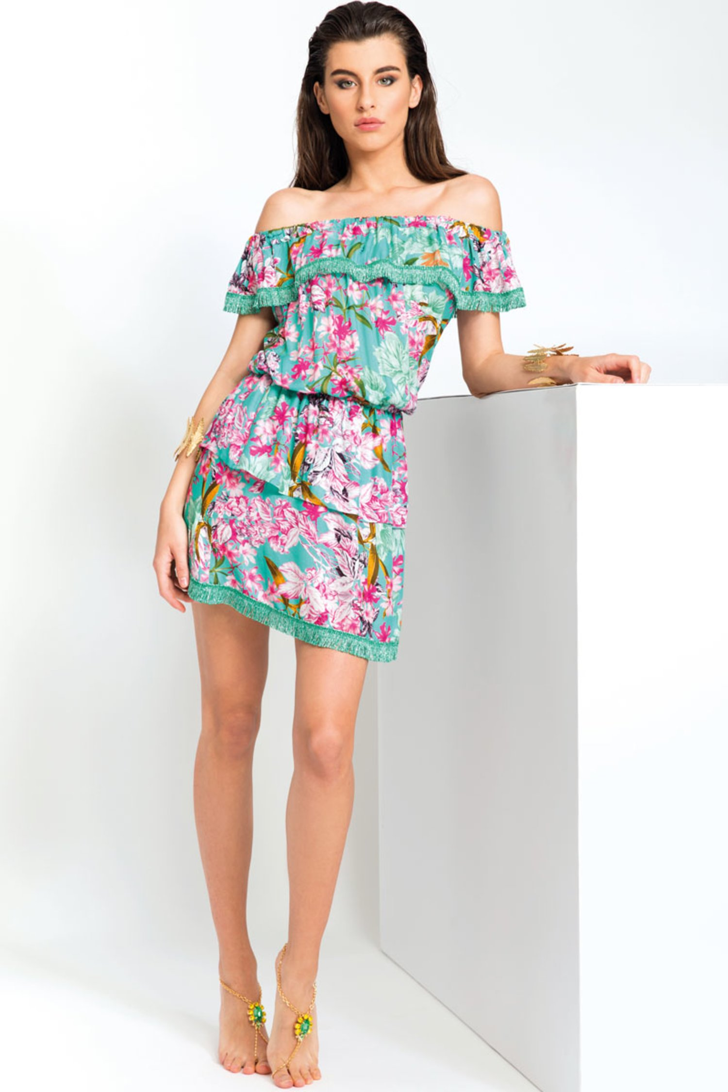 LUXE  PRINTED SHORT DRESS WITH FRILLS AND FRINGED TRIMMING - Fiori Azzurro