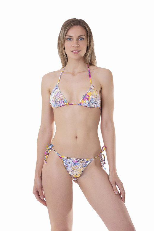 LUXE PRINTED TRIANGLE BIKINI WITH IRIDESCENT SEQUINS