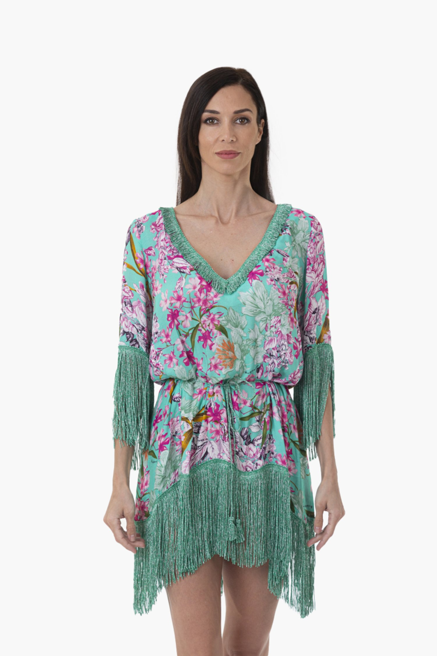 LUXE SHORT KAFTAN WITH THREE QUARTERS SLEEVES AND FRINGES - Fiori Azzurro