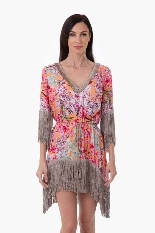 SHORT PRINT CAFTAN WITH FRINGES