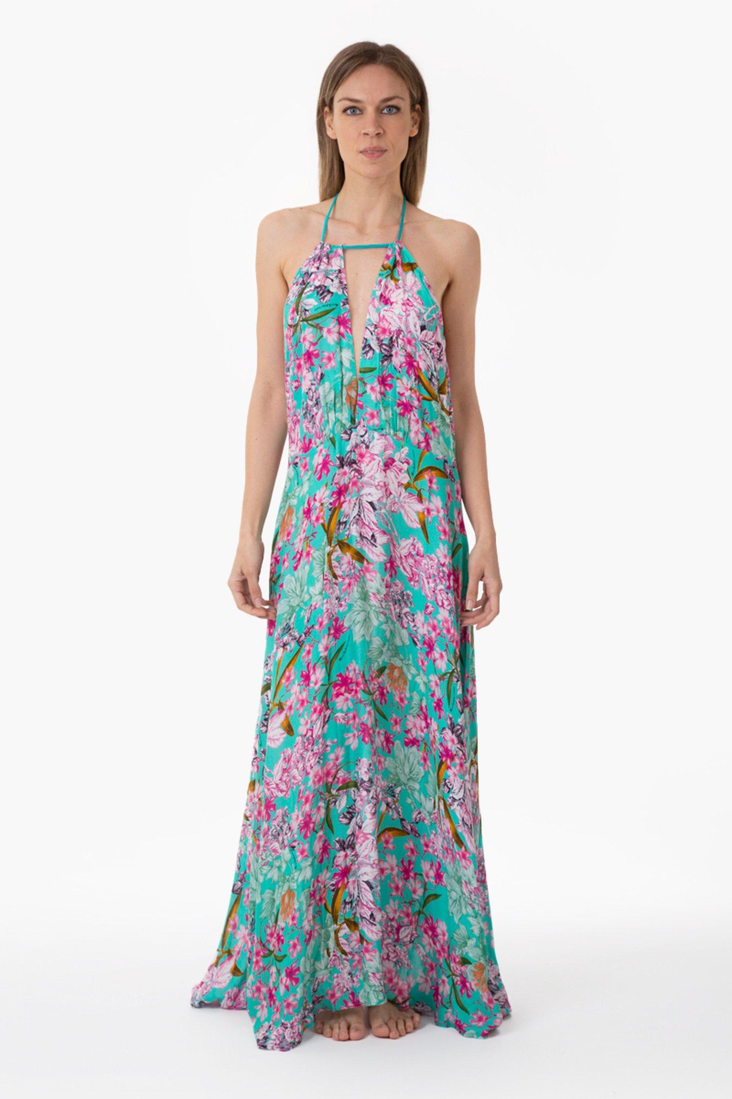 LUXE PRINTED LONG DRESS - Fiori Azzurro