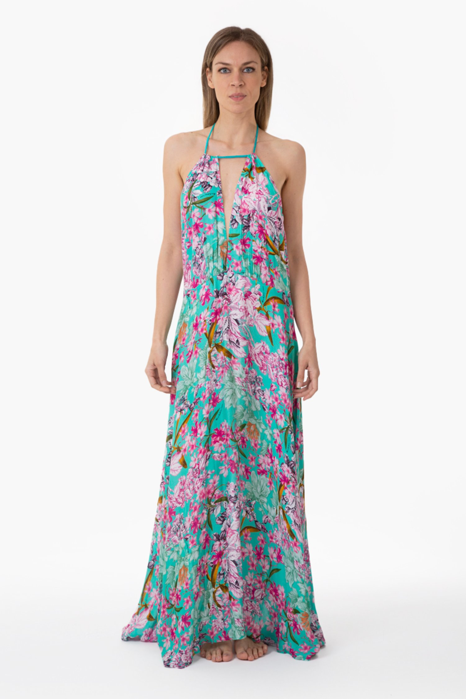 LUXE PRINTED LONG DRESS - Fiori Azzurro
