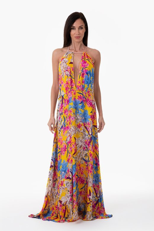 FLOWER PRINT LONG DRESS - Fiori Giallo