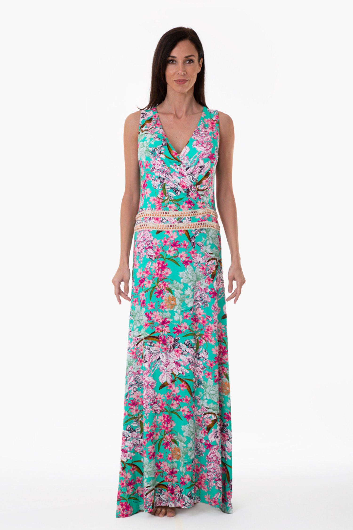 LUXE PRINTED LONG DRESS WITH WAIST TRIMMING - Fiori Azzurro