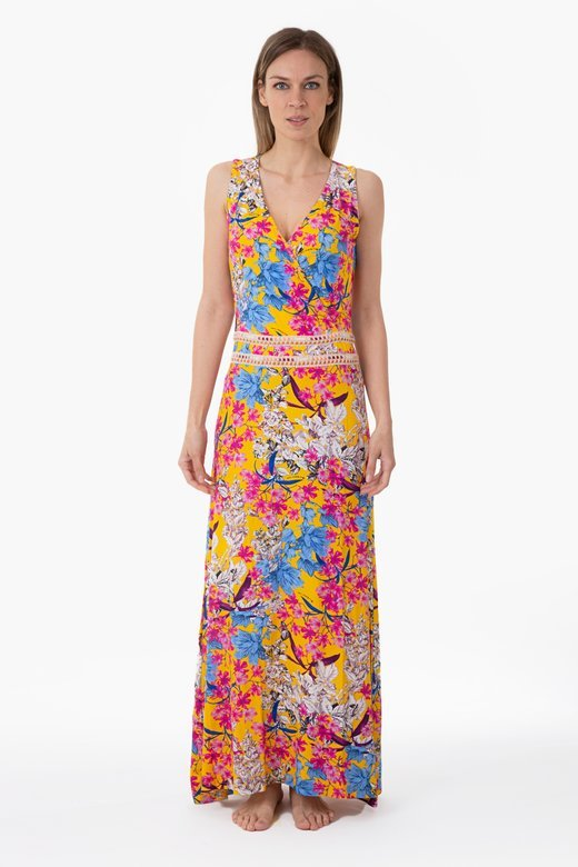 LONG FLOWER DRESS WITH TRIMMINGS