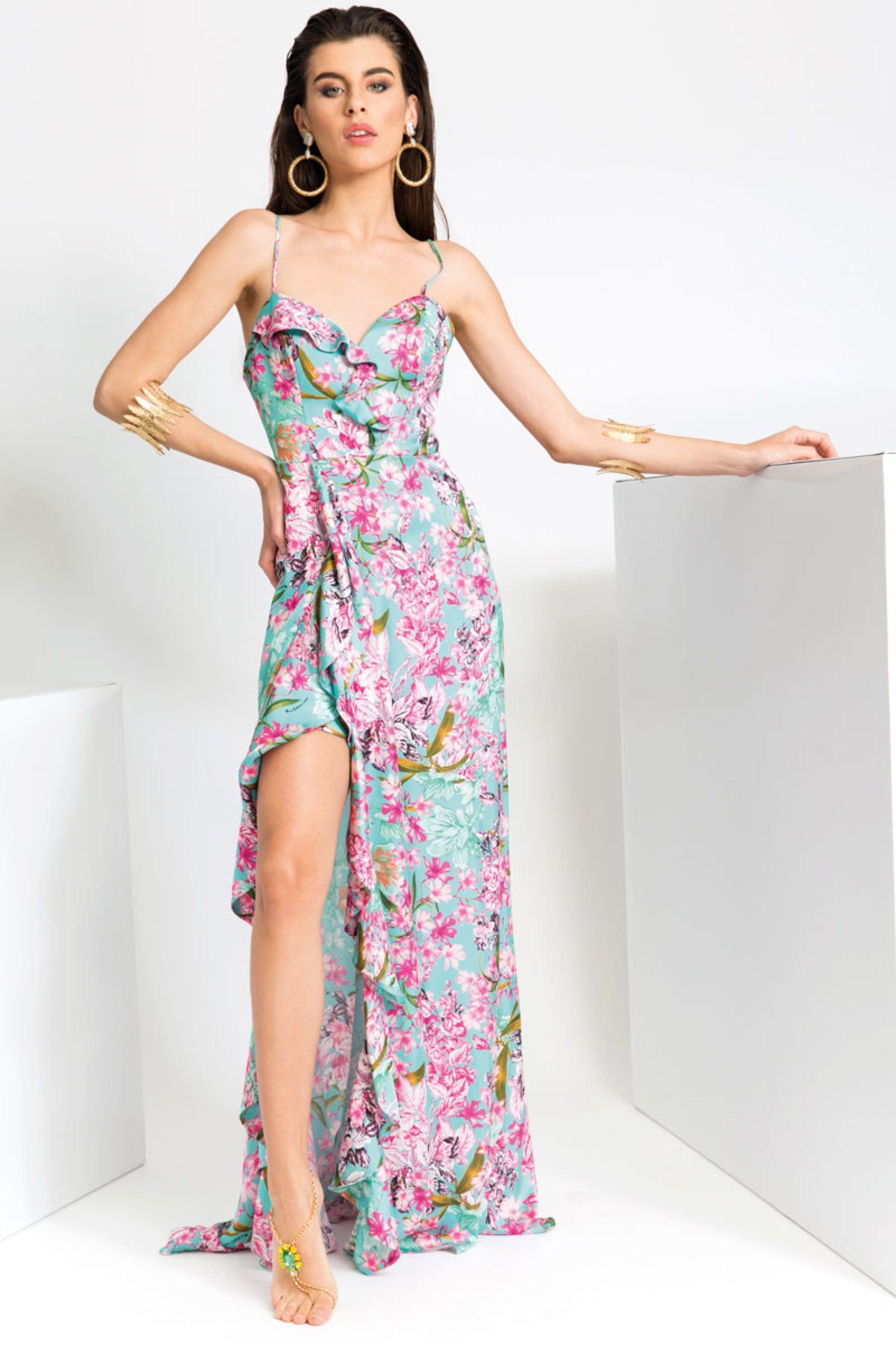 LONG SATIN DRESS WITH RUCHES - Fiori Azzurro