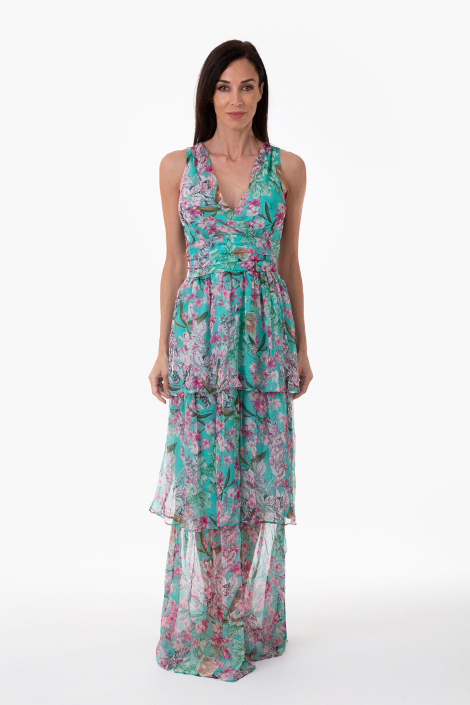 PRINTED SILK LONG DRESS - Fiori Azzurro
