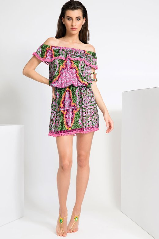PRINTED VISCOSE SHORT DRESS WITH FRILLS AND POM-POM