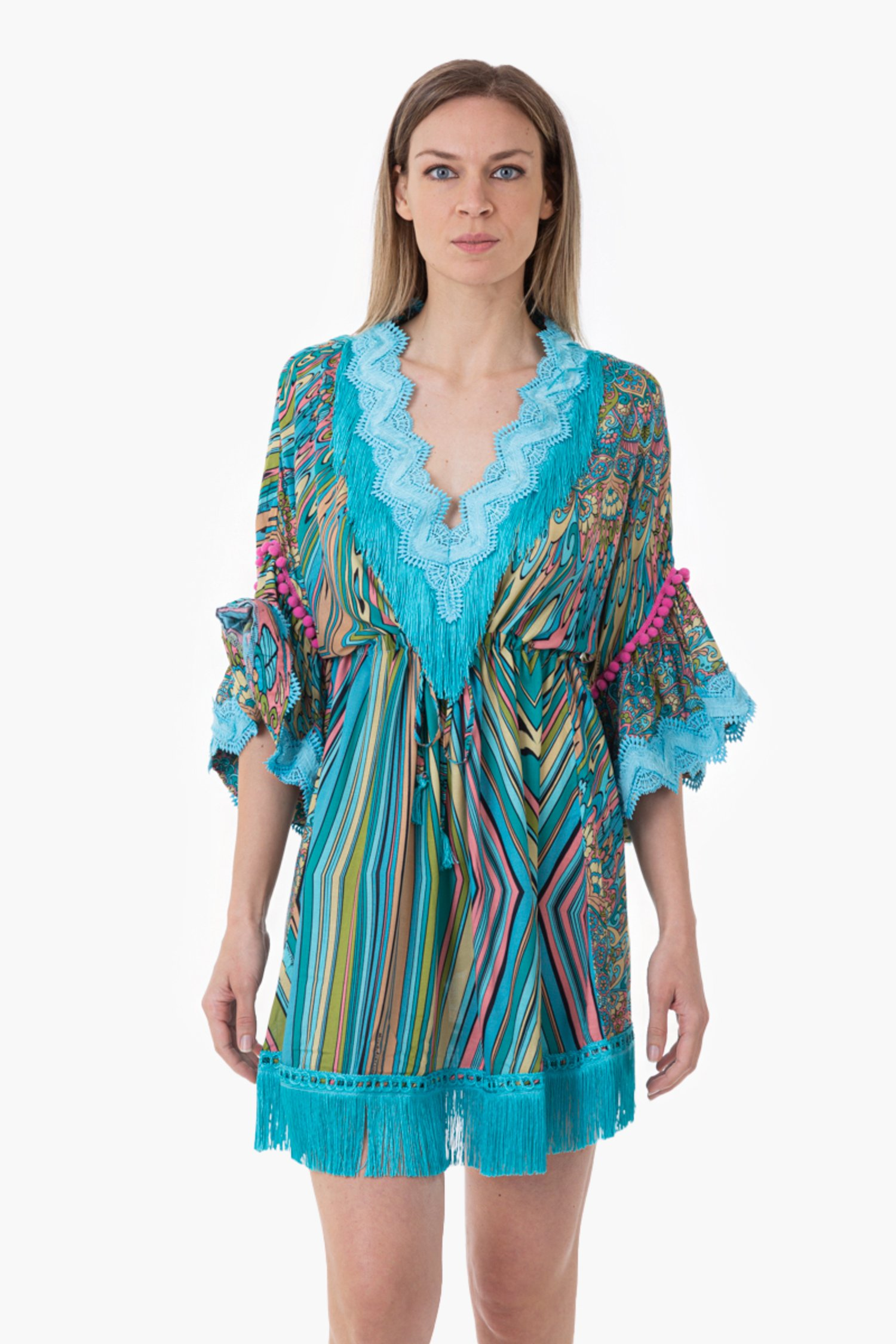 PRINTED VISCOSE SHORT KAFTAN WITH TRIMMING - Mandala Azzurro