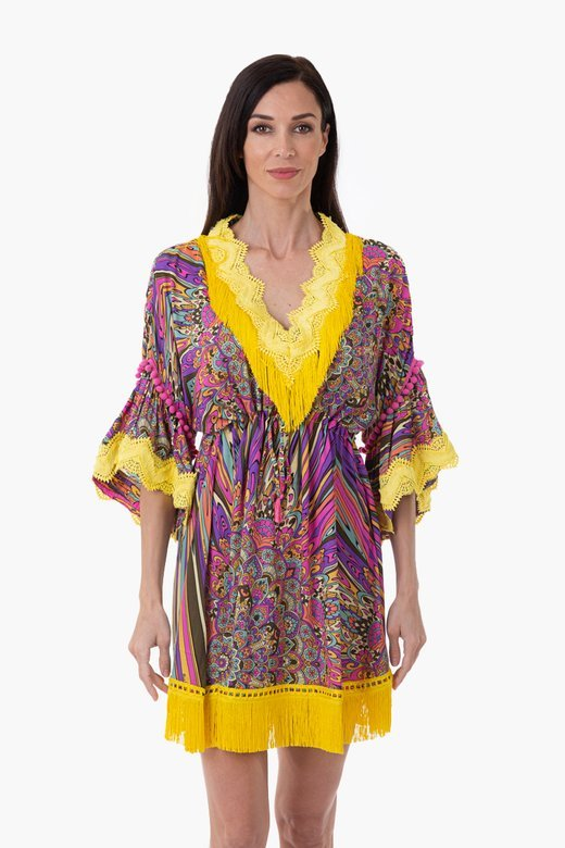 PRINT FLOWERS SHORT CAFTAN