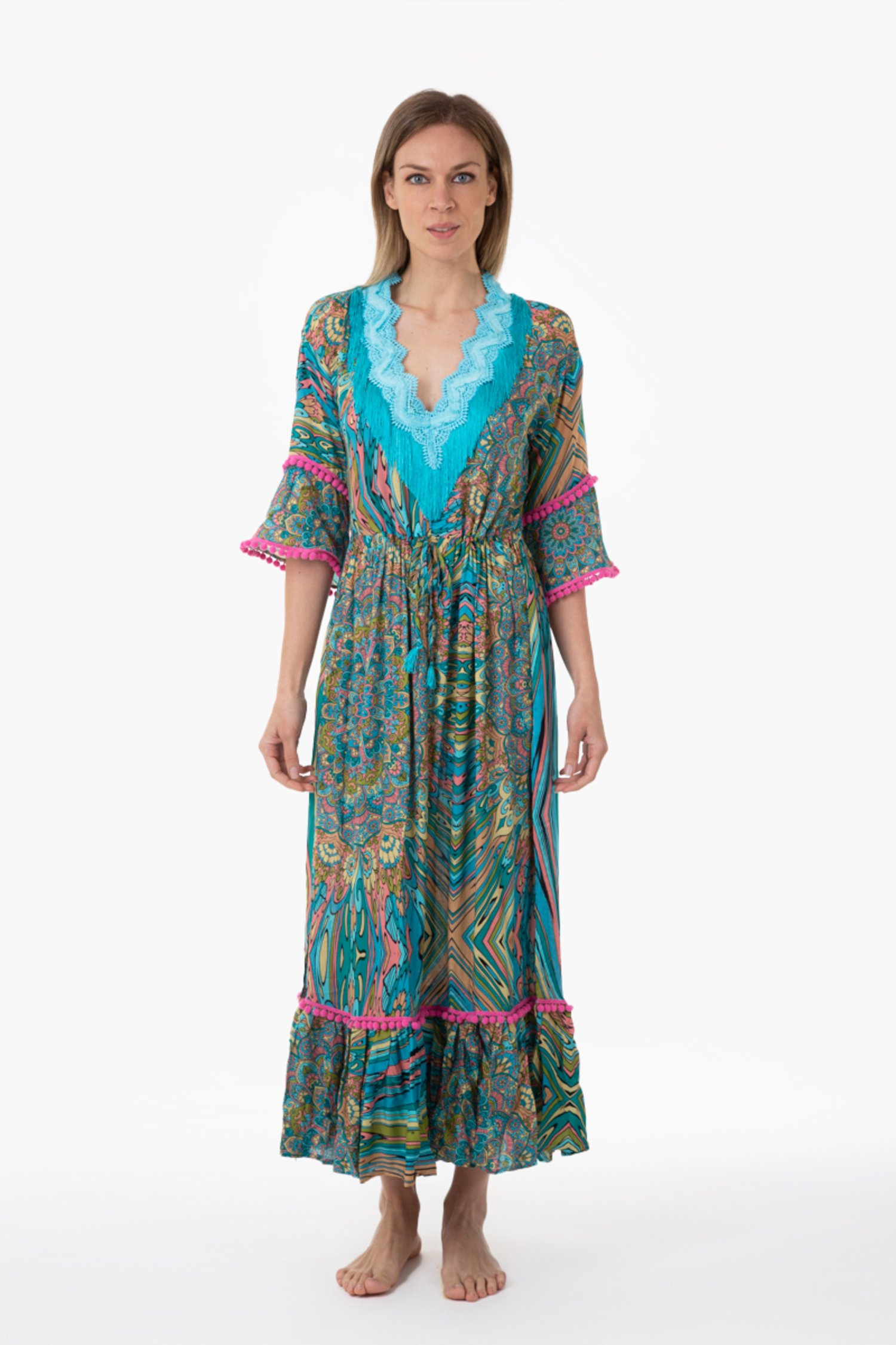 PRINTED VISCOSE LONG KAFTAN WITH TRIMMING - Mandala Azzurro