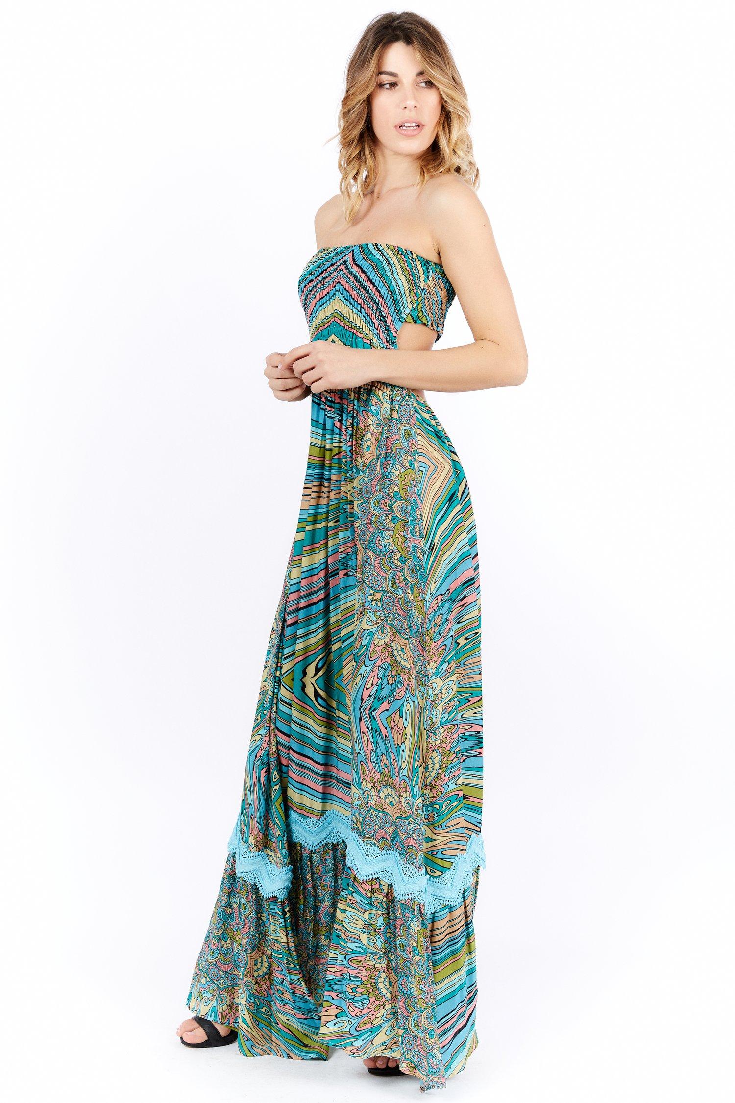 PRINTED VISCOSE LONG DRESS SMOCKING STITCH - Mandala Azzurro