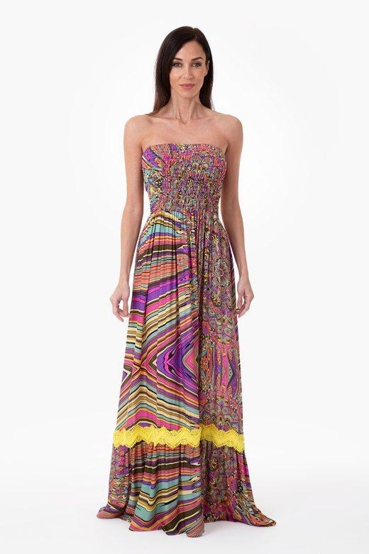 LONG DRESS IN VISCOSE - Mandalaa Fuxia