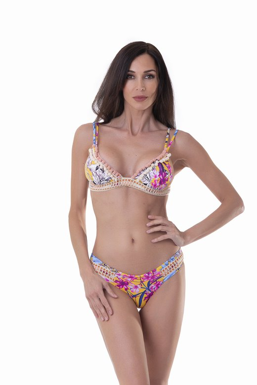FLOWERS PRINT TRIANGLE BIKINI