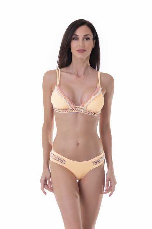 LUXE PLAIN COLOUR TRIANGLE BIKINI WITH TRIMMING BELOW THE BUST