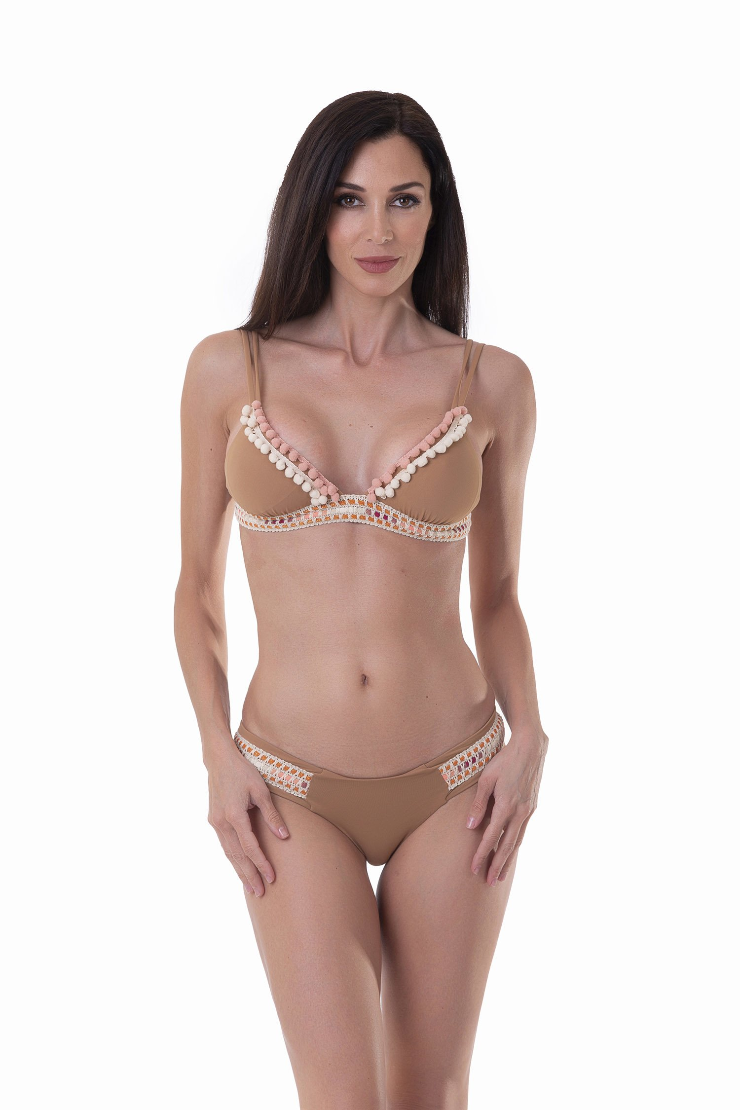 LUXE PLAIN COLOUR TRIANGLE BIKINI WITH TRIMMING BELOW THE BUST - Rame