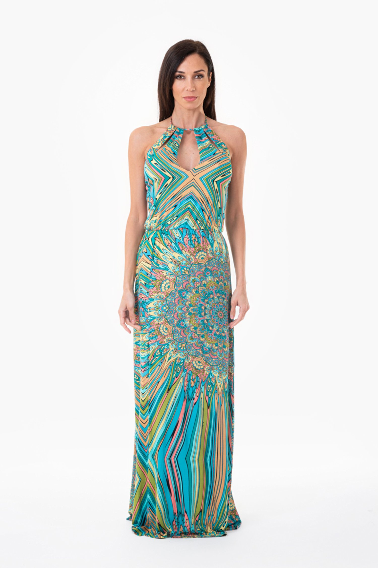 PRINTED JERSEY LONG DRESS WITH TEARDROP NECKLINE - Mandala Azzurro