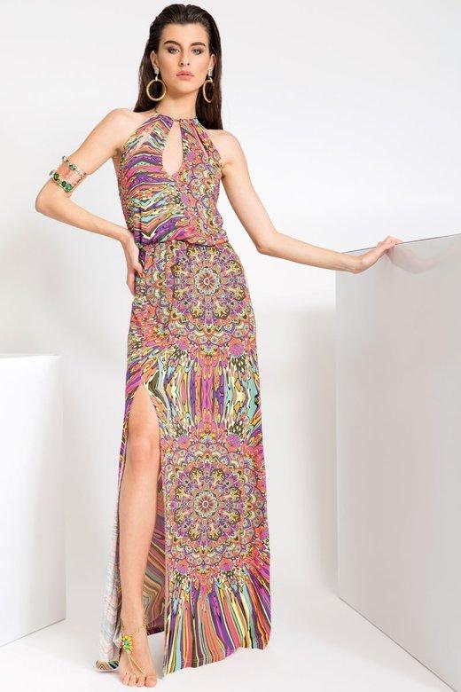 LONG DRESS IN JERSEY - Mandalaa Fuxia