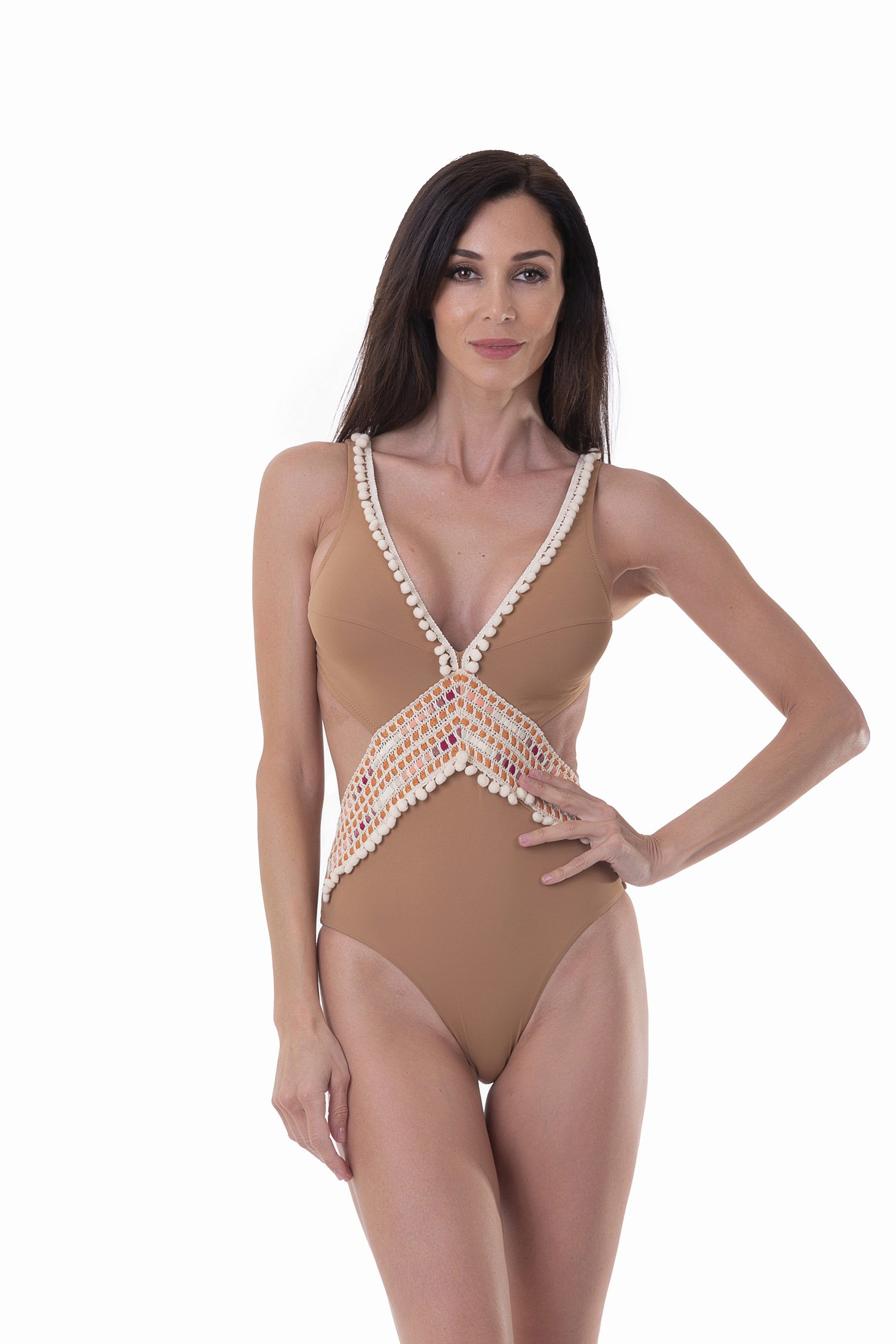 LUXE PLAIN COLOUR ONE-PIECE MONOKINI SILHOUETTE WITH TRIMMING - Rame