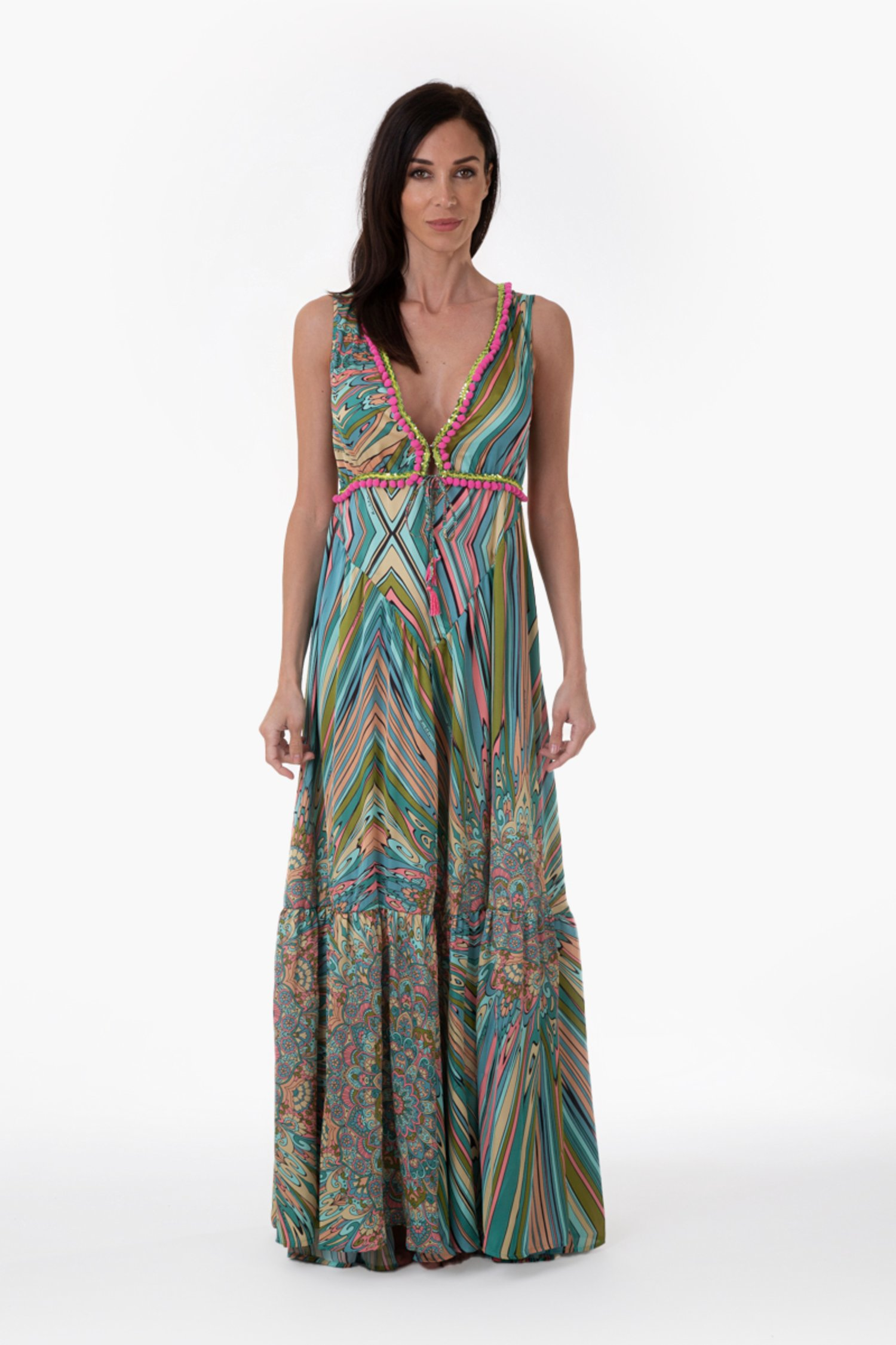 PRINTED SATIN LONG DRESS WITH TRIMMING - Mandala Azzurro