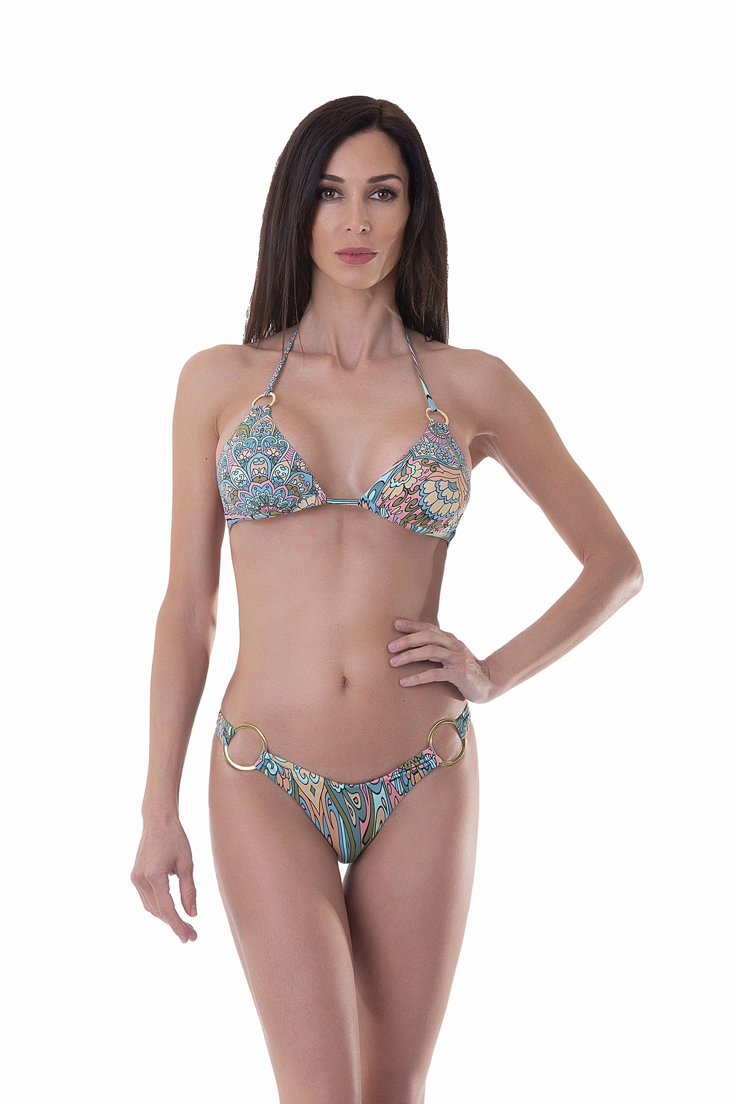 PRINTED TRIANGLE BIKINI WITH RINGS - Mandala Azzurro