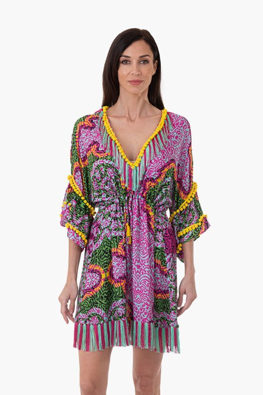 LUXE PRINTED VISCOSE SHORT KAFTAN WITH TRIMMING