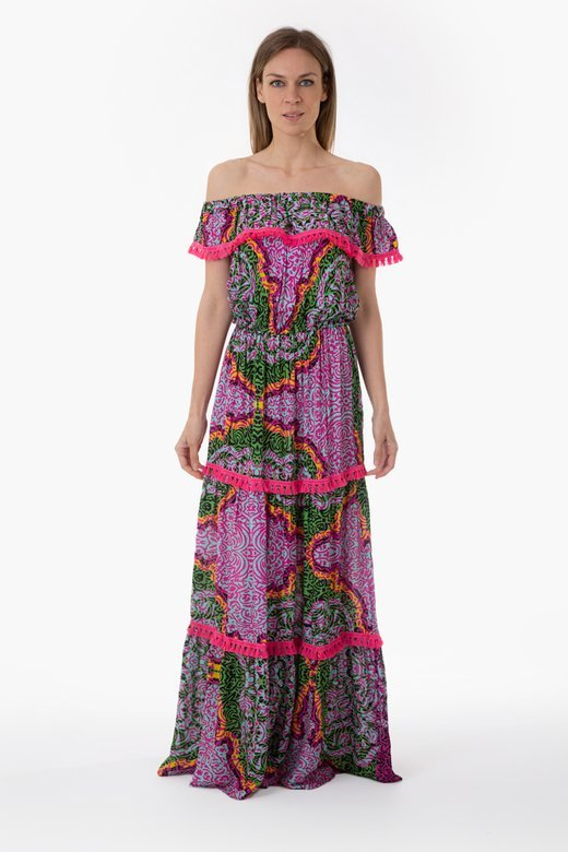PRINTED VISCOSE LONG DRESS WITH FRILLS