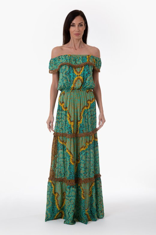 LONG DRESS WITH FLOUNCES IN VISCOSE