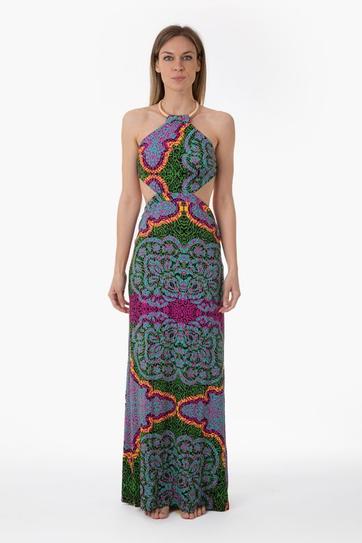 PRINTED JERSEY LONG DRESS WITH NECKLACE