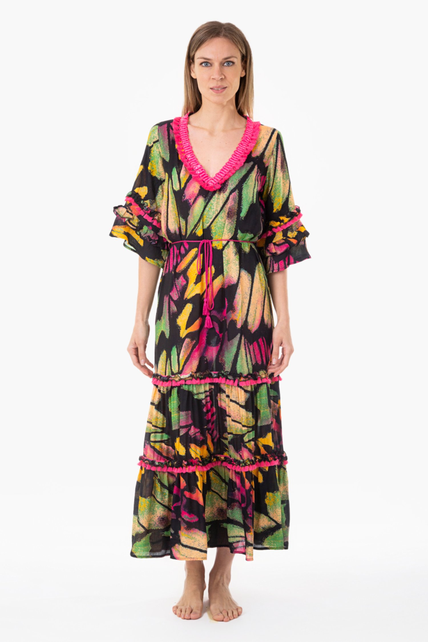 PRINTED VISCOSE LONG KAFTAN WITH TRIMMING - Farfalle Arancio