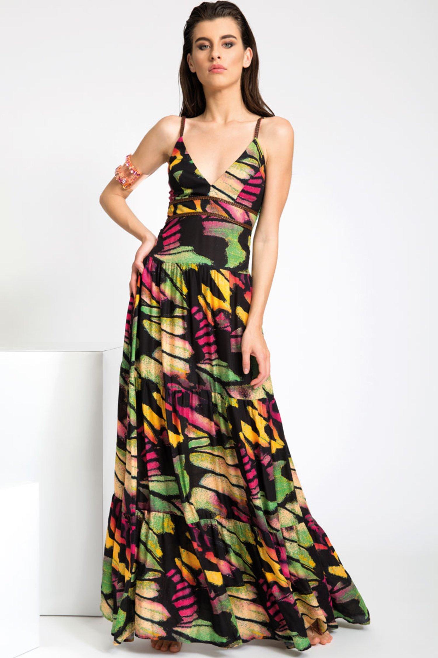 LONG DRESS WITH ARTIFICIAL LEATHER BRAIDS - Farfalle Arancio