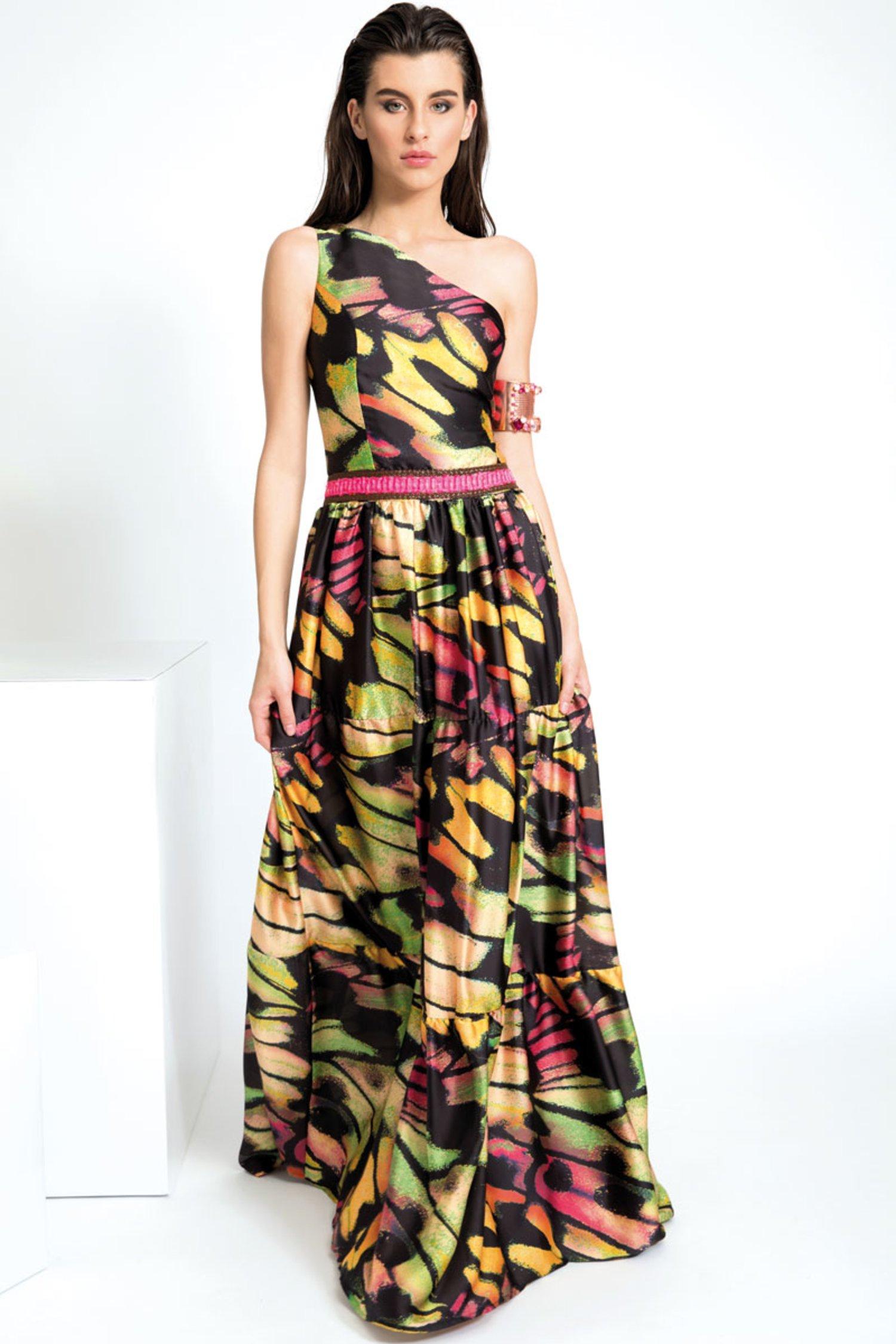SATIN ONE-SHOULDER LONG DRESS WITH WAIST TRIMMING DETAILS - Farfalle Arancio