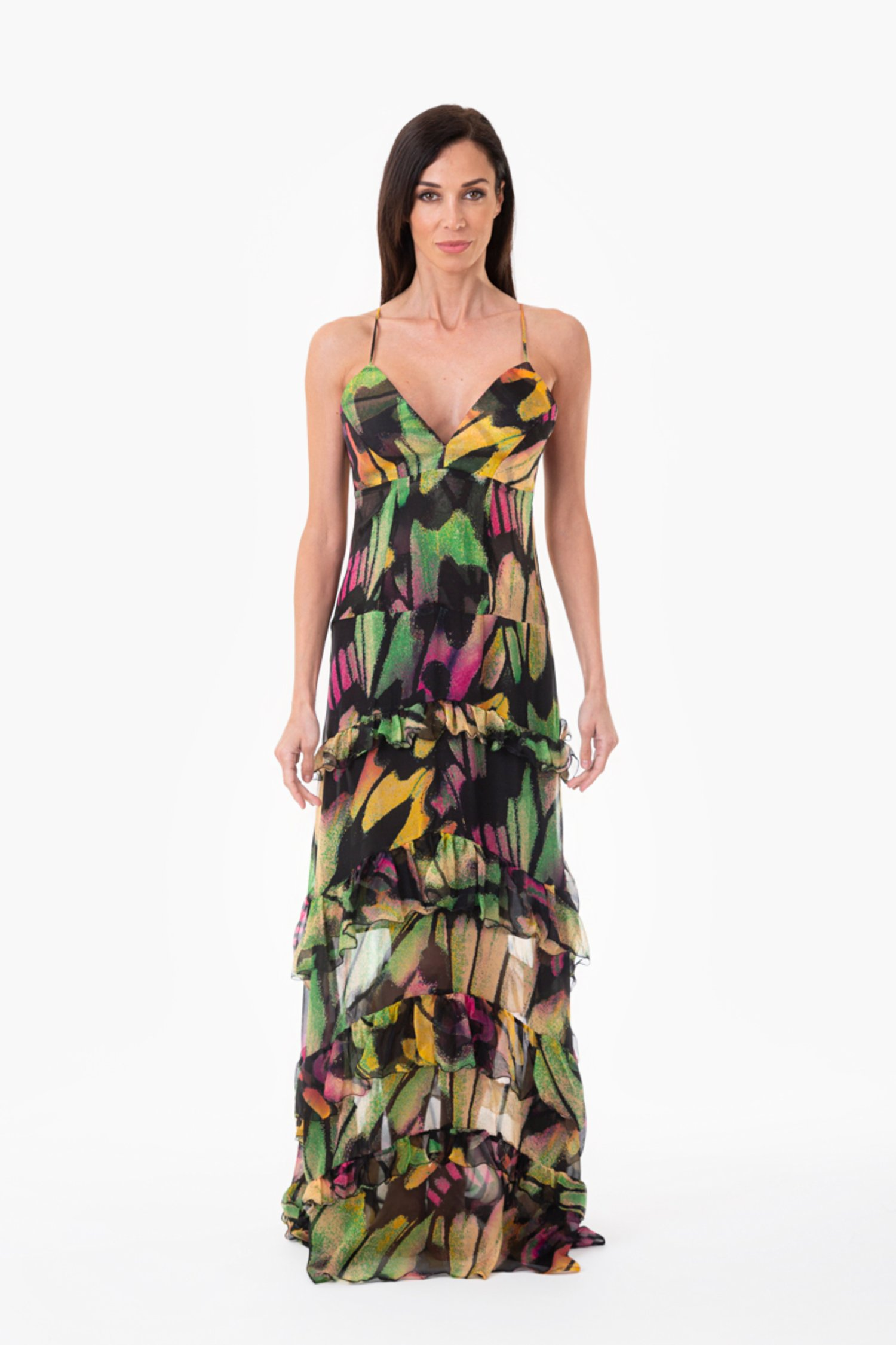 SILK LONG EVENING DRESS WITH FRILLS - Farfalle Arancio